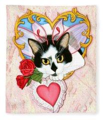 My Feline Valentine Tuxedo Cat Fleece Blanket