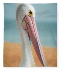 My Gentle And Majestic Pelican Friend Fleece Blanket
