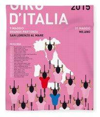 My Giro D'italia Minimal Poster Percorso 2015 Fleece Blanket