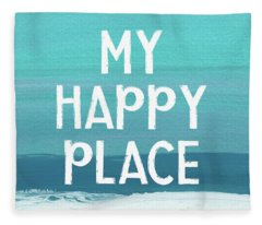 My Happy Place Beach- Art By Linda Woods Fleece Blanket