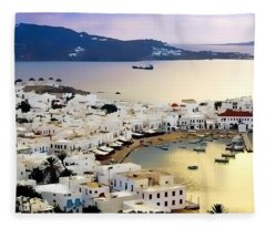 Mykonos Greece Fleece Blanket