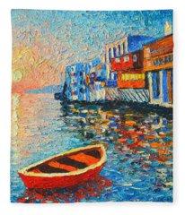 Mykonos Little Venice - Timeless Moment Fleece Blanket
