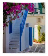 Mykonos Staircase Fleece Blanket