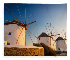 Mykonos Windmills Fleece Blanket