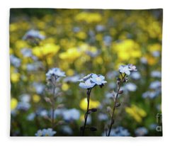 Myosotis With Yellow Flowers Fleece Blanket