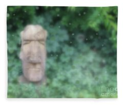 Mysterious Stone Statue In Garden Fleece Blanket