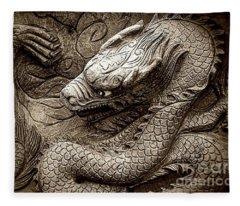 Mystical Ancient Dragon Of China B/w Fleece Blanket