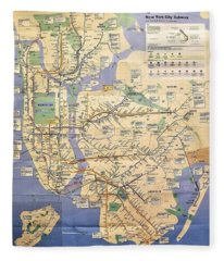 N Y C Subway Map Fleece Blanket