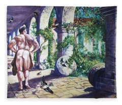 Naked In The Cloisters Fleece Blanket