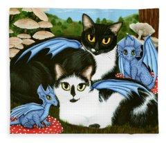 Nami And Rookia's Dragons - Tuxedo Cats Fleece Blanket
