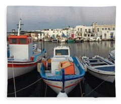 Naoussa Village Island Greece Fleece Blanket