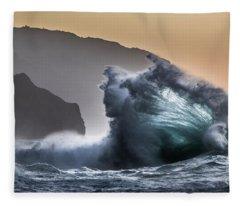 Napali Coast Hawaii Wave Explosion IIi Fleece Blanket