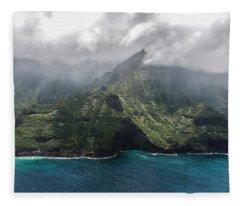 Napali Coast In Clouds And Fog Fleece Blanket