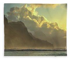 Napali Coast Kauai Hawaii Dramatic Sunset Fleece Blanket