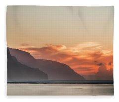 Napali Coast Kauai Hawaii Panoramic Sunset Fleece Blanket