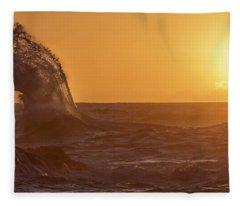 Napali Coast Kauai Hawaii Wave Explosion Iv Fleece Blanket