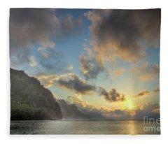 Napali Coast Sunset Kauai Fleece Blanket