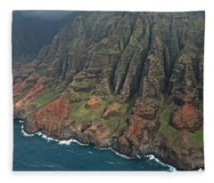 Napali Coastline Aerial Fleece Blanket