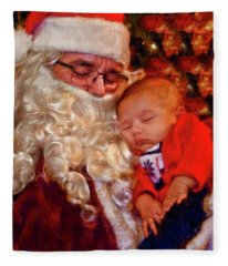 Napeing With Santa Fleece Blanket