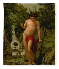 Narcissus In Love With His Own Reflection Fleece Blanket