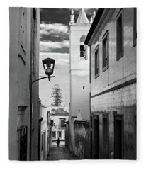 Narrow Street And Bell Tower In Tavira - Portugal Fleece Blanket