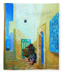 Narrow Street In Hammamet Fleece Blanket
