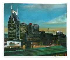 Nashville At Dusk Fleece Blanket