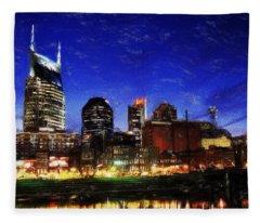 Nashville At Twilight Fleece Blanket