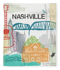 Nashville Cityscape- Art By Linda Woods Fleece Blanket