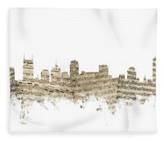Nashville Tennessee Skyline Sheet Music Fleece Blanket