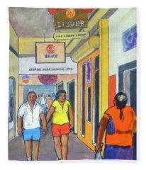 Nassau Bahamas Sidewalk Stroll Fleece Blanket