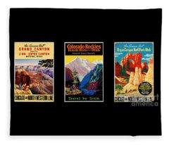 National Parks Posters Fleece Blanket
