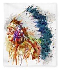 Native American Chief Side Face Fleece Blanket
