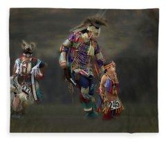 Native American Dancers Fleece Blanket