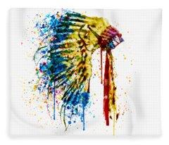 Native American Feather Headdress   Fleece Blanket
