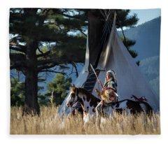 Native American In Full Headdress In Front Of Teepee Fleece Blanket