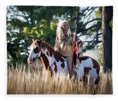 Native American In Full Headdress On A Paint Horse Fleece Blanket