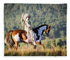 Native American On His Paint Horse Fleece Blanket