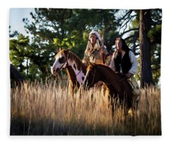 Native Americans On Horses In The Morning Light Fleece Blanket