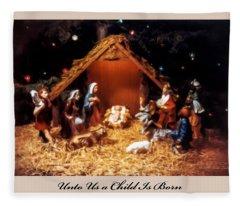 Nativity Scene Greeting Card Fleece Blanket