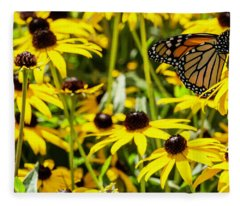 Monarch Butterfly On Yellow Flowers Fleece Blanket