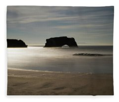 Natural Bridges State Beach Sand B/w Fleece Blanket