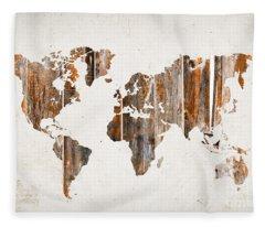 Natural Planks World Map Fleece Blanket