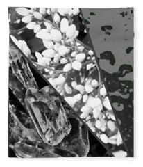 Nature Collage In Black And White Fleece Blanket
