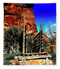 Natures Artwork On Wood And Rock Fleece Blanket