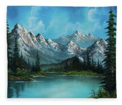 Rocky Mountains Paintings Fleece Blankets