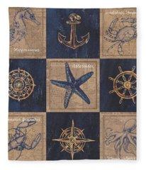 Nautical Burlap Fleece Blanket