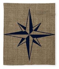 Nautical Star Burlap Fleece Blanket