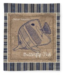 Nautical Stripes Butterfly Fish Fleece Blanket