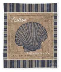 Nautical Stripes Scallop Fleece Blanket